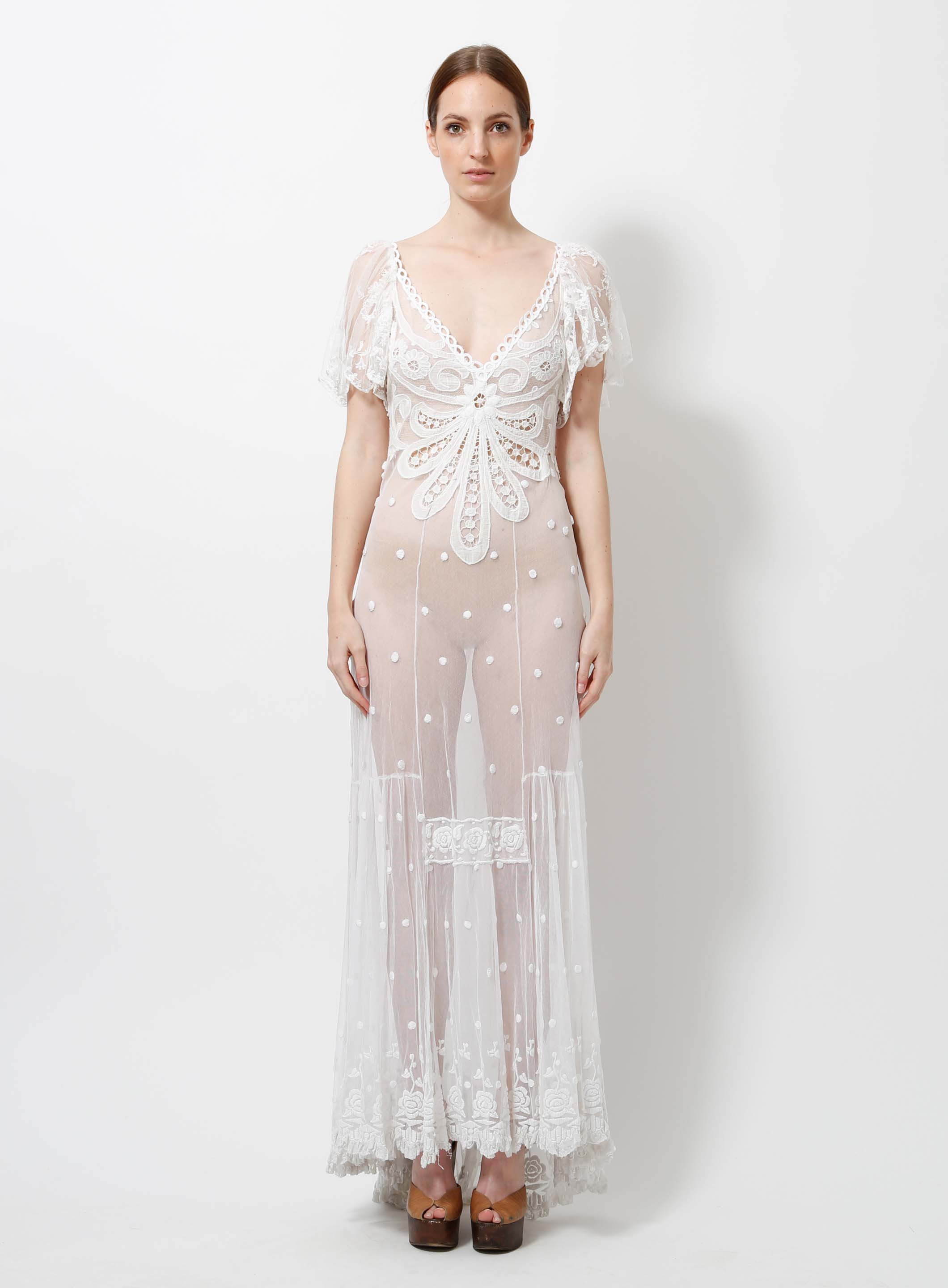 Tulle Embroidered Antique Lace Dress