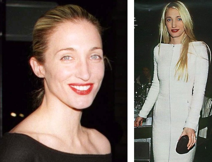 While her color pallette remained fixed, Carolyn Bessette Kennedy's evening outfits found their uniqueness in sleek structure and shape. Always accessorized with her signature red lip