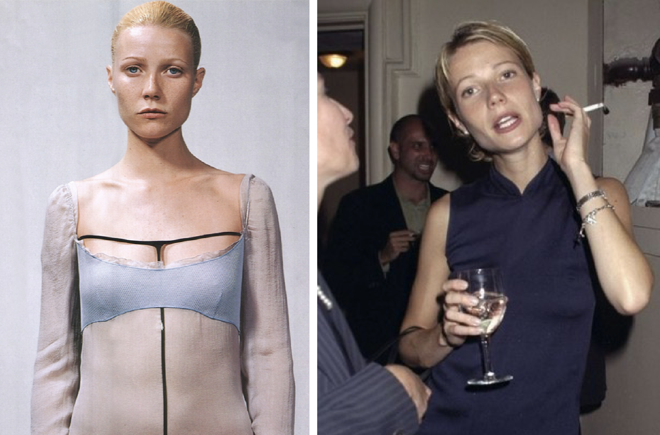 '90s Prada was de rigor for Paltrow, who mixed gauzy tanks with straight cut trousers or slip dresses with straight-cut leather jackets. For red carpet events, her Prada looks featured satin coats and of course the epic 1997 chinoiserie collection