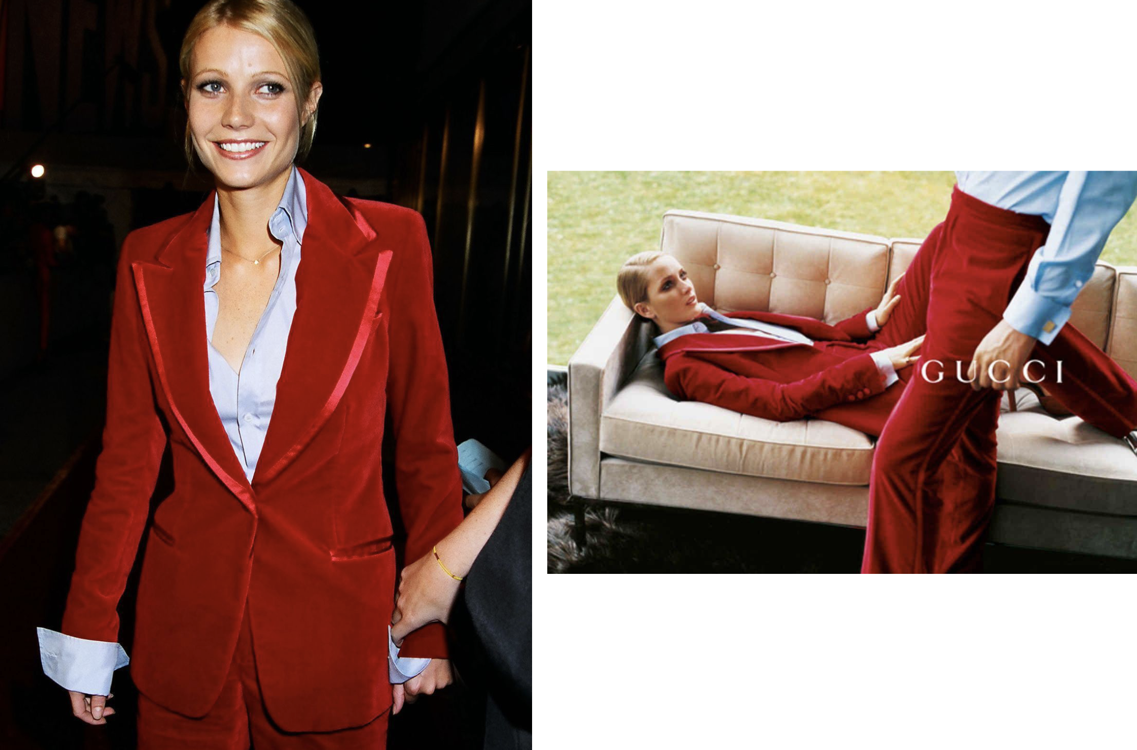 """How can I beat that?"" Gwyneth Paltrow on the Gucci by Tom Ford red velvet suit she wore to the 1996 VMAs. With powerful tailoring and bold colours, the look has become one of the most iconic red-carpet moments and Tom Ford's all-time favorite pieces."