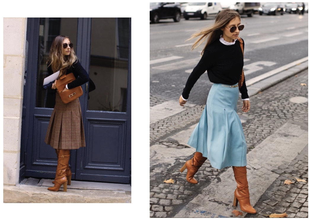 Jenny Walton spotted during PFW wearing her Vintage Céline Chainlink skirts and handbag from Re-SEE