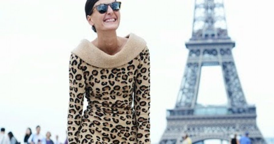 Giovanna Battaglia in Paris wearing the most coveted piece in her entire collection, an Alaïa Leopard dress from the iconic Fall 1991 Collection.