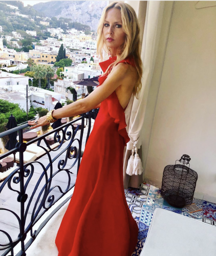 Rachel Zoe in Capri wearing her vintage Valentino Gown found on Re-SEE
