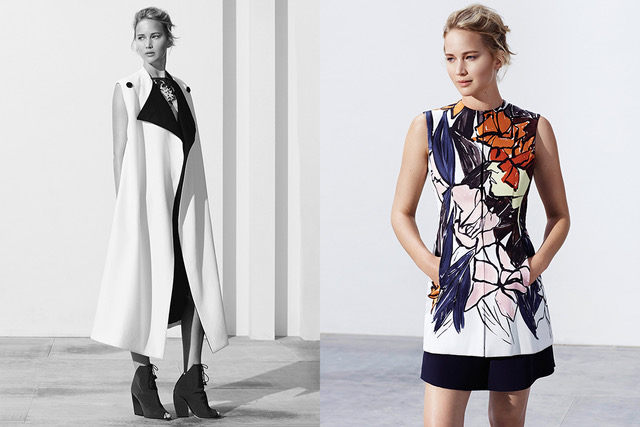 Jennifer Lawrence in Christian Dior by Raf Simons Resort 2015 Runway collection, styled by Karla Welch
