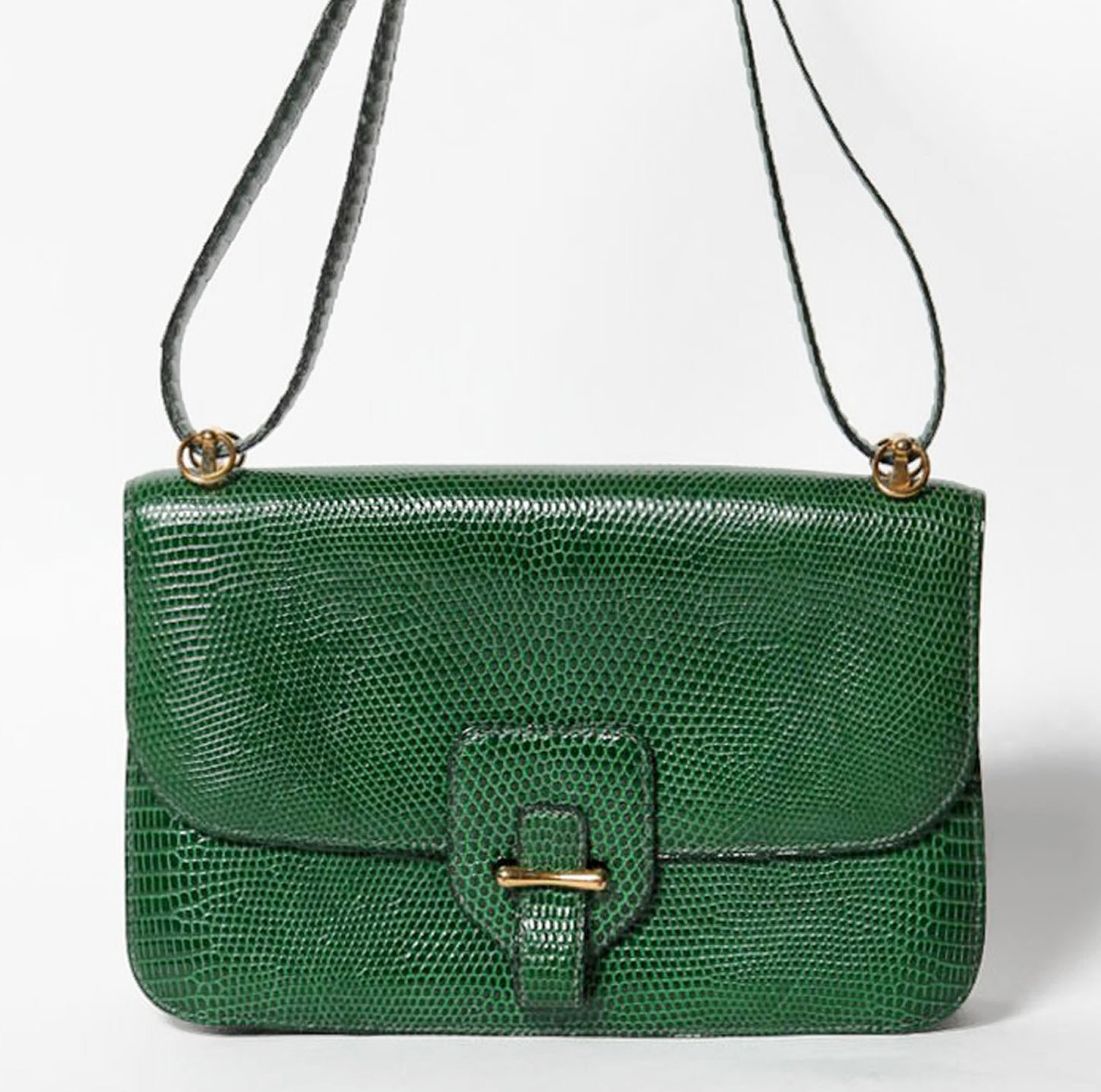 EMERALD LIZARD HERMES SHOULDER BAG